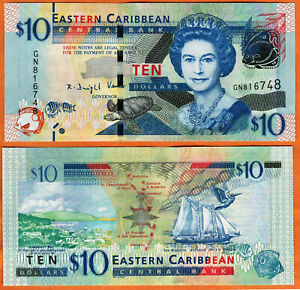 Eastern Caribbean banknote 10 dollars New QEII UNC lot of 3