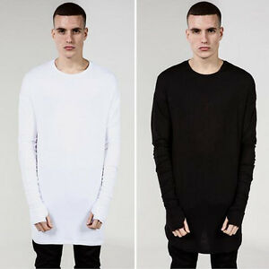 Men-039-sT-shirt-Solid-Curve-Bottom-Round-Neck-Top-Long-Sleeve-Hip-Hop-Glove-Cotton
