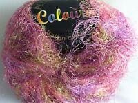 Plymouth Coloura Metallic Sparkle Long Eyelash Yarn 609 Pink Gold Lilac 50 Gram