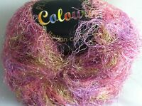 Plymouth Coloura Metallic Sparkle Long Eyelash Yarn 609 Pink Gold Lilac 50 Gram