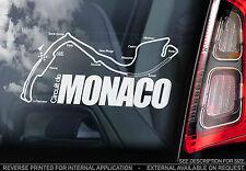 Circuito de Monaco-F1 Coche Etiqueta De La Ventana-Monte Carlo Mapa De Fórmula 1 signo de pista