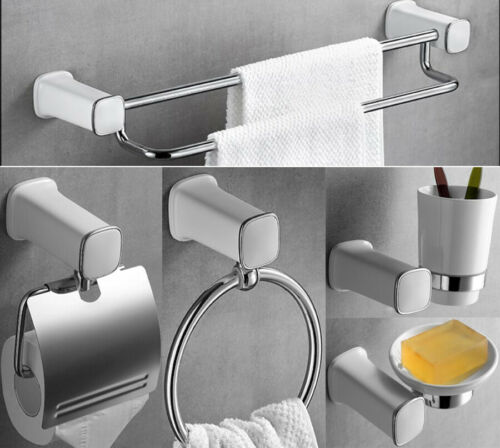 5pcs Set Towel Ring Dual Bar Toilet Paper Holder Soap Dish Tooth Brush Cup Shelf