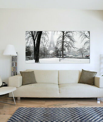 Stretched Canvas Art Print 2 LGE Sizes Landscape FRANCE PARIS SNOW EIFFEL TOWER