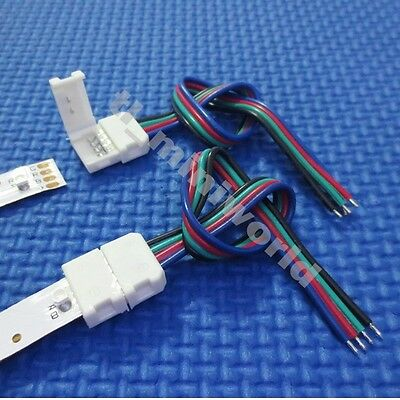 10x led-to-Controller Connector 4p with wire for 10mm width RGB 5050 led strip