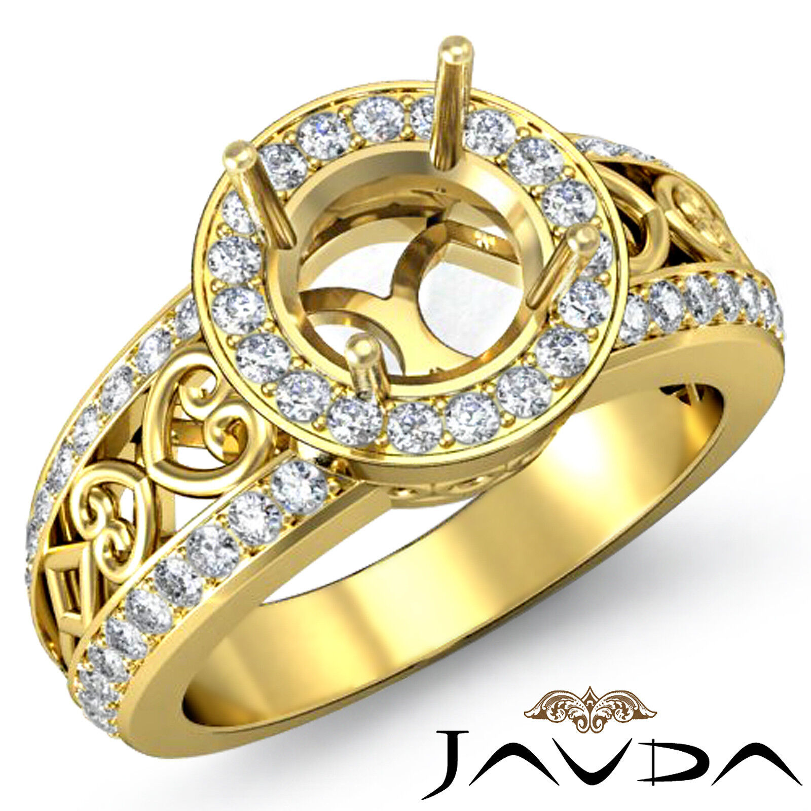 Diamond Engagement Antique Ring Halo Set 18k Yellow gold Round Semi Mount 0.75Ct