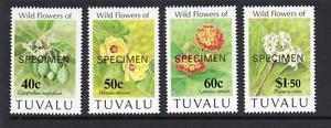 TUVALU-MNH-1993-SG664-667-FLOWERS-SPECIMEN-OPT