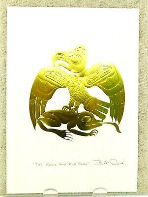 """EMBOSSED GOLD Raven Bear Eagle Frog 6.25/"""" x 9/"""" 4 BILL REID Haida Art Cards"""
