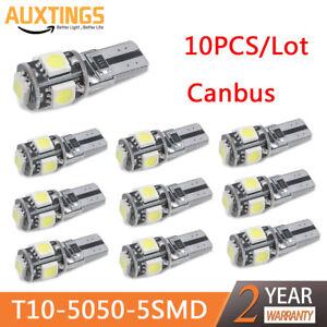 10X 12V T10 5SMD 5050 LED Canbus Error Free Interior Light Lamp Wedge Bulb White