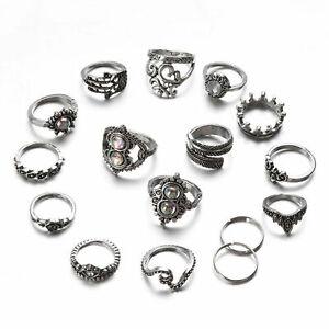 16-teile-satz-vintage-silber-kristall-partei-ring-set-punk-frauen-mode-ringe
