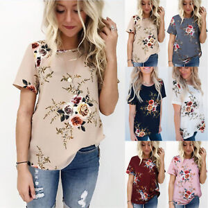 Summer-Womens-Casual-Tops-Blouse-Short-Sleeve-Crew-Neck-Floral-T-Shirt-Ladies