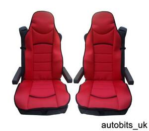 RED-PREMIUM-PADDED-SEAT-COVERS-SET-OF-2-CUSHIONED-FOR-DAF-CF-LF-XF105-XF-105-95