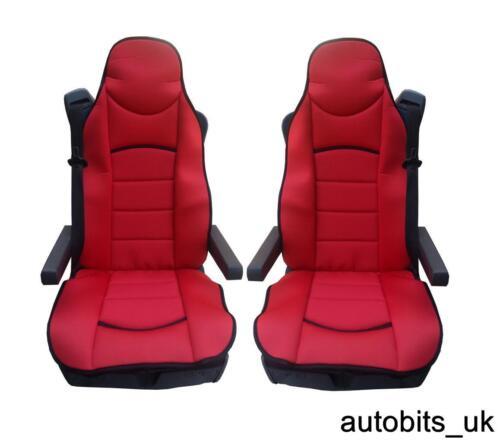Rot Premium Gepolstert Sitzbezüge 2er Set für DAF Cf Lf Xf105 XF 105 95