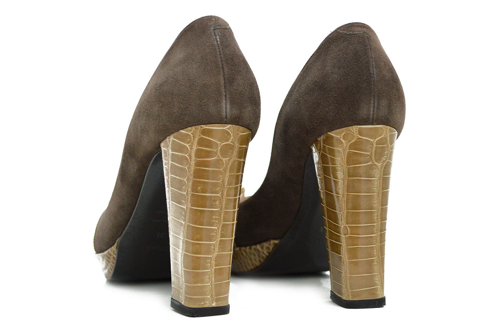 Auth HERMES Exotic Crocodile Leder Pumps Peep Toe Platform H Pumps Leder Heels 38 Beige def0b1
