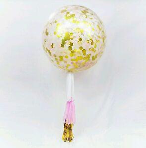 Bridal Jumbo Wedding Balloons Tail Tassel Hen Bride to be Gold confetti Giant Confetti Balloons White Balloons