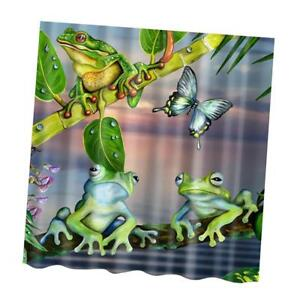 Image Is Loading Water Resistant Fabric Frogs Shower Curtain Bathroom Liner