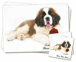 St-Bernard-Rose-039-Love-You-Mum-039-Simple-2x-Set-de-table-2x-Ensemble-De-Sous-verres