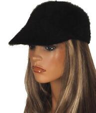 NEW MONCLER BLACK ANGORA FUR STYLISH VISOR BALL STYLE HAT CAP M