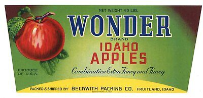 Caldwell Idaho Hell/'s hells Canyon Apple Fruit Crate Label Art Print