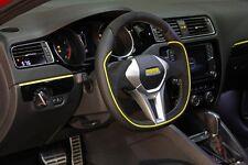 MOMO GT50 350MM Black leather Alcantara Yellow Piping Steering Wheel - GTF35BK0S