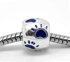 Paw Print Charm Bead Large Enamel Paw