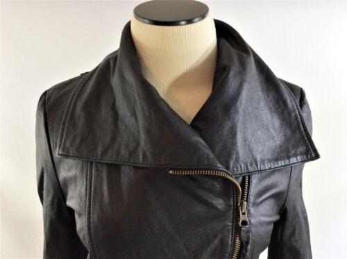 Black Soft Small Størrelse Leather Kvinders Breasted Double Moto Jacket TSR1wTdqg