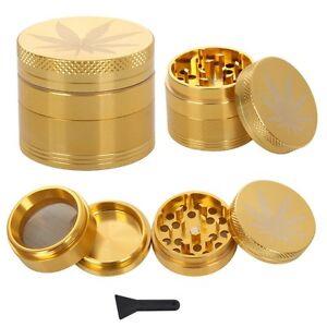 METAL-GOLD-GRASSLEAF-40-amp-50mm-HERB-GRINDER-MAGNETIC-3-amp-4-PART-POLLINATOR