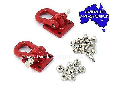 2 X RED Towing hooks,Shackles, D bolts for 1:10 RC suit Axial D90 GMade