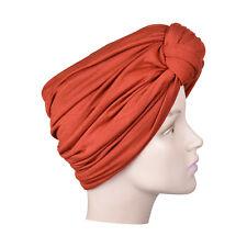 Womans Turban Rust Pretty Knot Head Wrap Soft Stretchy Chemo Cap