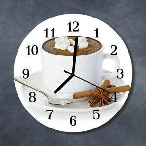 Details zu Echt-Glas Uhr Wanduhr Rund Küche 30 cm Deko Schokolade weiß