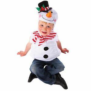 PUPAZZO di neve per bambini Natale Fancy Dress Costume con cappuccio tabbard 3-5 anni