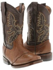 Kids Western Cowboy Boots Rodeo Square Toe Honey Brown Real Smooth Leather Bota
