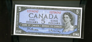 1954-Bank-of-Canada-5-Beattie-Rasminsky-UNC-WL34