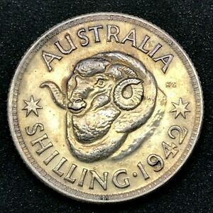 Australia-1942-m-One-Shilling-George-VI-Silver-Choice-Uncirculated-KM-39