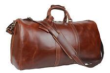 Baigio Men's Brown Leather Gym Sports Weekend Travel Duffel Bag Boarding Luggage