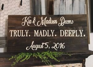 "Hand Made Plaque /"" Truly Madly Deeply /"" Love Hope Wish Lovers Gift Sign Lovers"
