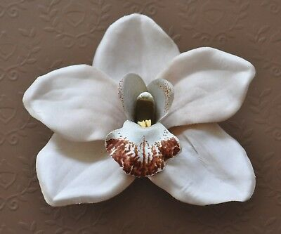 "4.5/"" Pale Light Pink Orchid Silk Flower Hair Clip Luau Wedding Cruise Tropical"