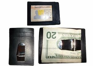3-Cuir-Argent-Pince-Credit-Carte-Id-Support-Portefeuille-avec-Metal-Pince-BNWT