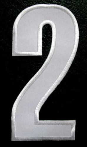 """6/"""" BIG HUGE NUMBER TWO NO.2 #2 White Sew on Patch Free Postage"""