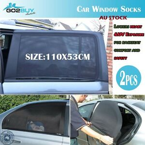 2x Universal Car Window Sox Sun Shades Socks Rear Side Seat Baby Kids Protection