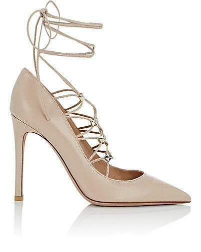 Valentino Rockstud Studded Lace Up Leather Pumps Heels schuhe Nude  995