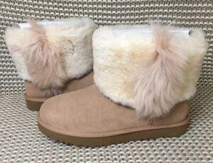 3d66570fcc1 Details about UGG Classic Mini Wisp Arroyo Suede Fur Boots Womens Size 10  *NIB*