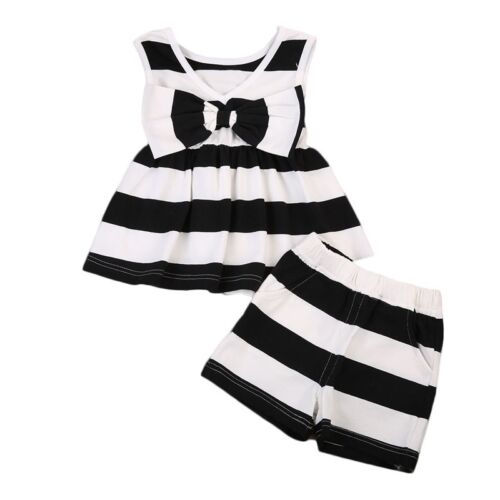 Summer Fashion Toddler Baby Kids Girl Tops Dress+Shorts Pants Outfit Clothes Set