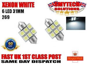 2x LED 269 31mm XENON WHITE NUMBER PLATE INTERIOR LIGHT