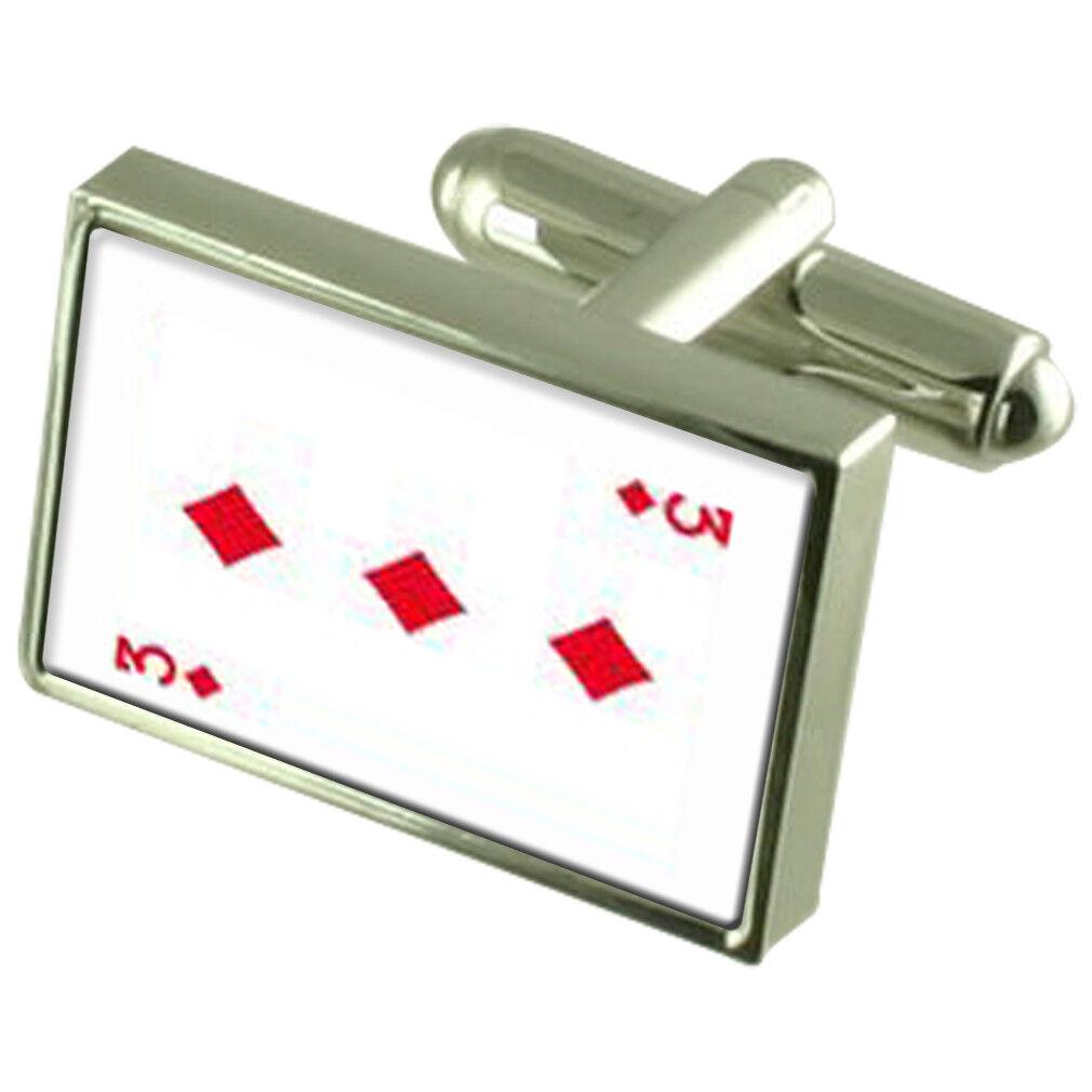 Diamond Diamond Diamond carte da gioco numero 3 argentoo Sterling 925 Gemelli in Scatola 0d9a4b