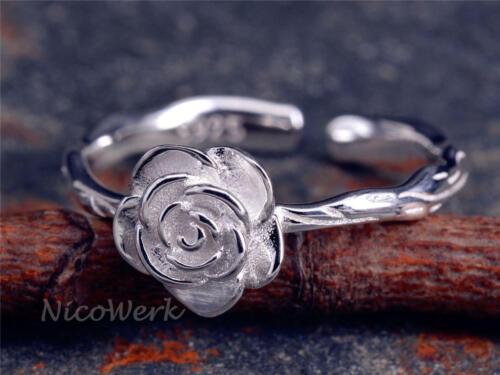 NEU Silber Blüte Ringe Verstellbar Damen Blume 925er 925 Schwarz Ring