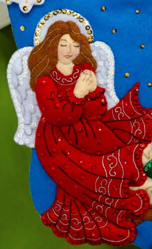"Bucilla Guardian Angel ~ 16/"" Felt Christmas Stocking Kit #86483 Baby Jesus 2014"