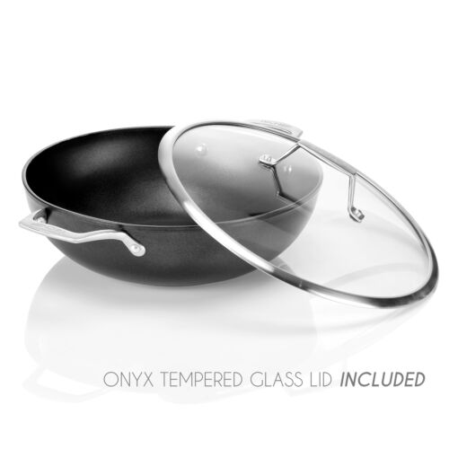 Stir-Fry Pan with Glass Lid Onyx Collection TECHEF 12-Inch Nonstick Wok