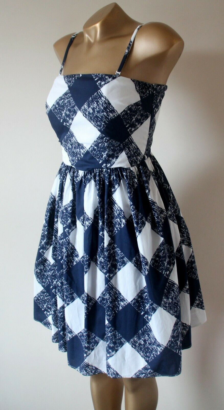 BODEN Navy bluee & White Sandra Removable Adjustable Strap Lined Cotton Dress 8