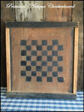 Antique Primitive AAFA Folk Art Wood Checker Game Board Original Old Paint