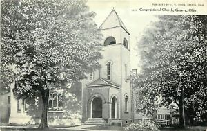 Geneva-Ohio-Trees-Give-Shade-to-Congregational-Church-Bell-Tower-c1910-Postcard